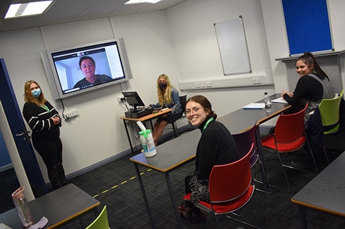 Level 3 Crime & Society Academy students during their session with Catherine Mason from Scarborough, Ryedale and Whitby - Mind.