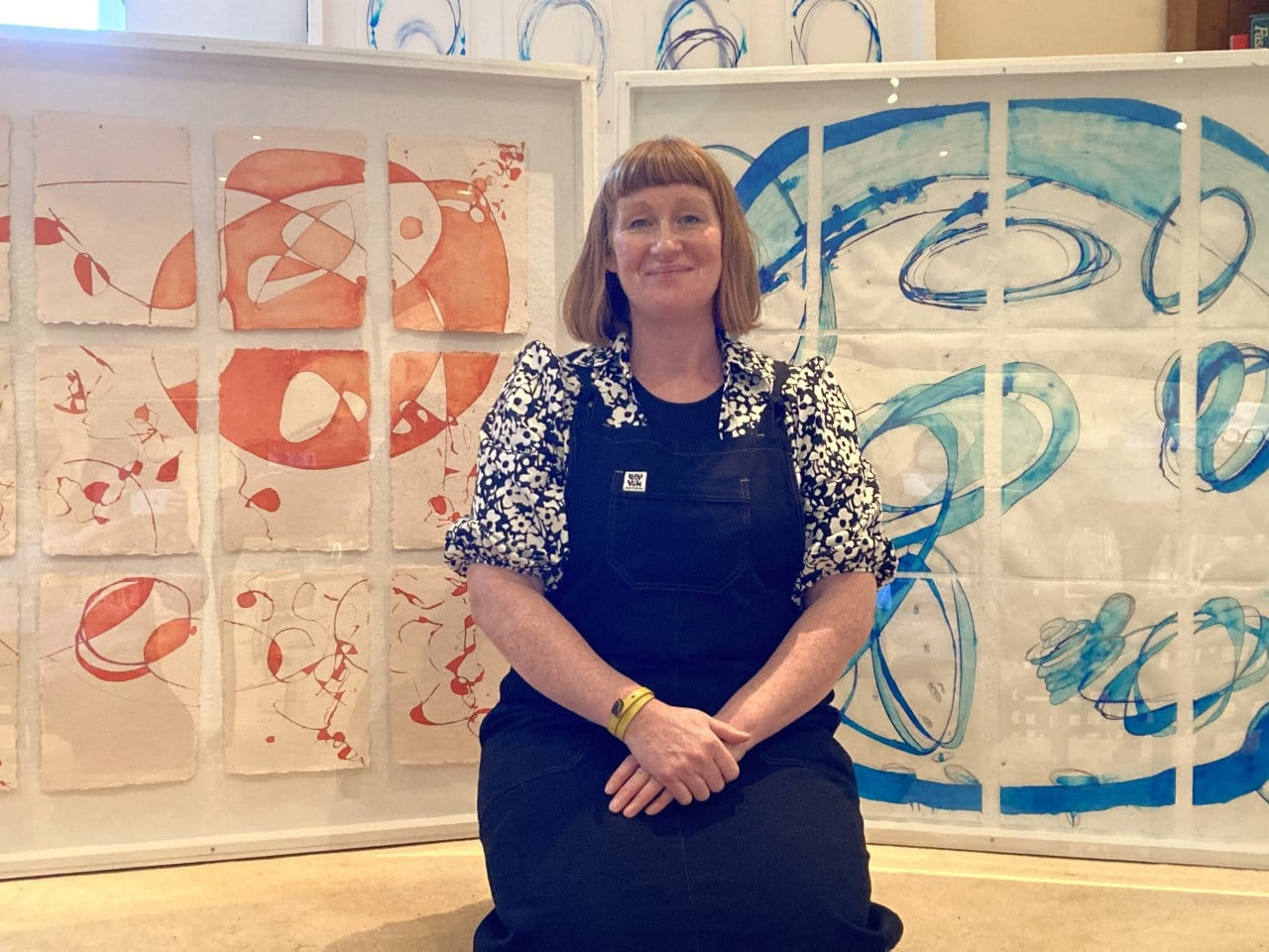Petra Ingham pictured with some of the artwork that will be in display at Equilibirum.